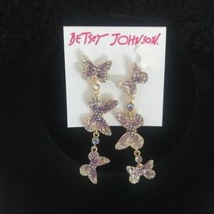 """BETSEY JOHNSON """"Trail of Butterflies"""" Earrings"""